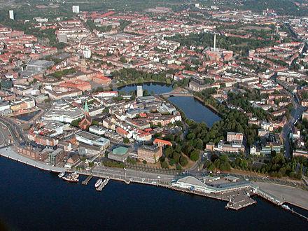 Blick auf das Stadtzentrum Kiels