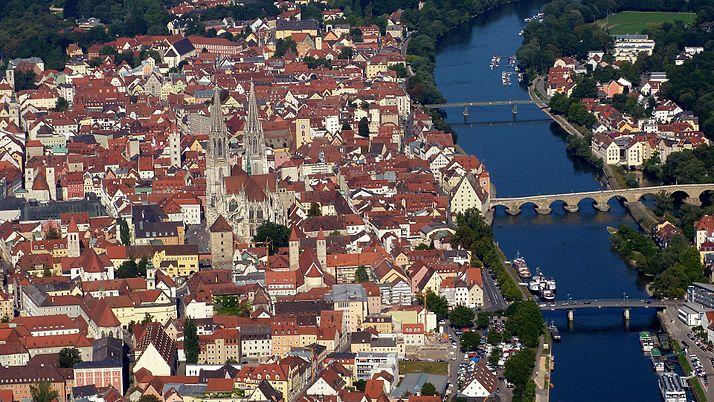 Regensburg aus der Flugzeugperspektive
